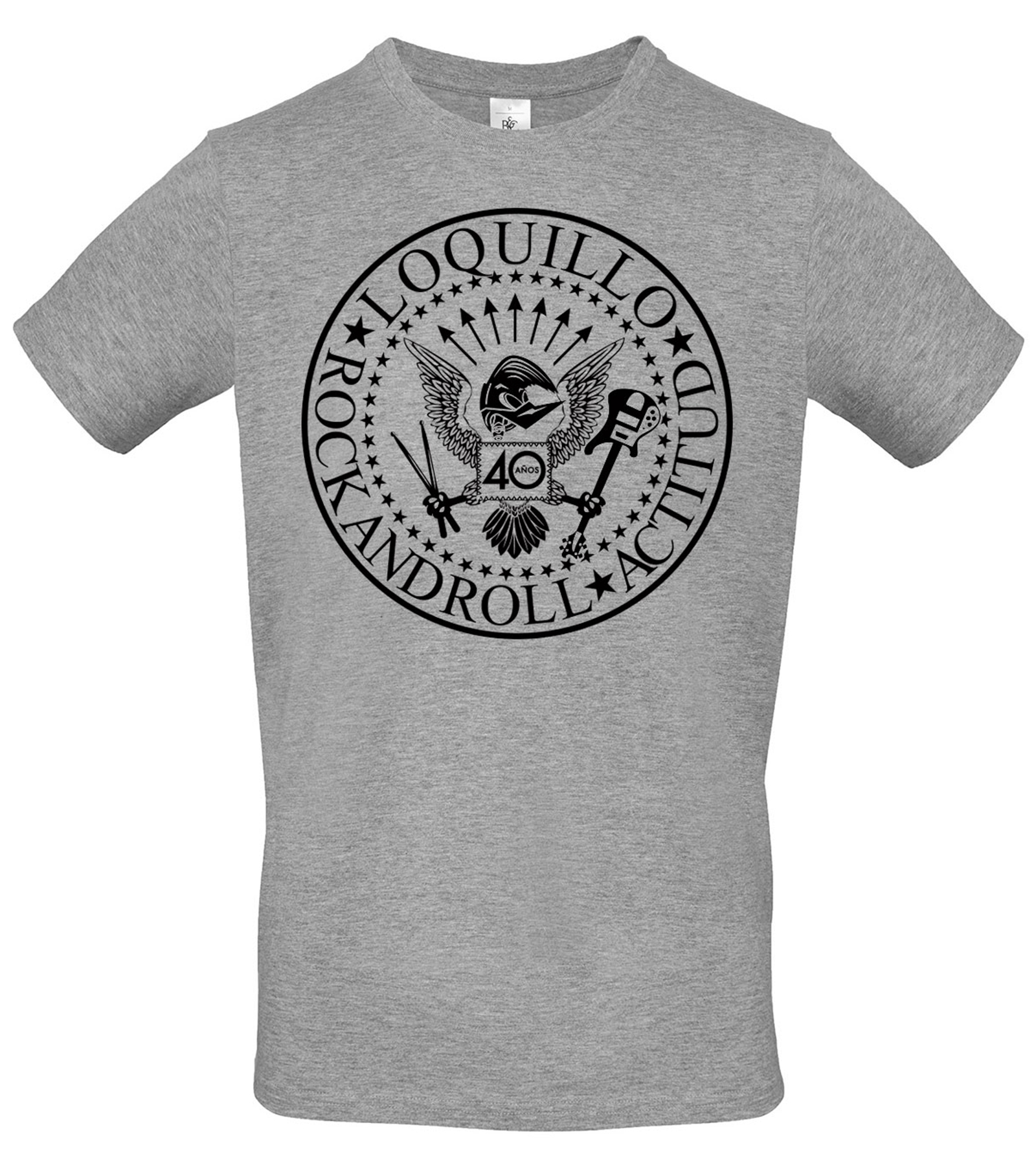 2db0e5346 Camiseta Gris 40 Años Rock And Roll Actitud